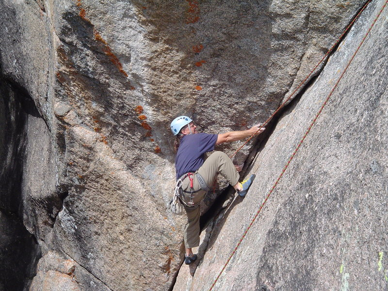 Tim H. climbing Bat Crack.