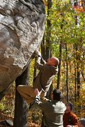 Rock Climbing Photo: Willy trying the V5 campus problem @ the trailside...