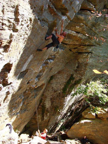 Rock Climbing Photo: SteveZ at the crux of Ro Shampo, Roadside Crag, RR...