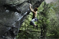 Rock Climbing Photo: warming up for a great day at Rumney (12b).