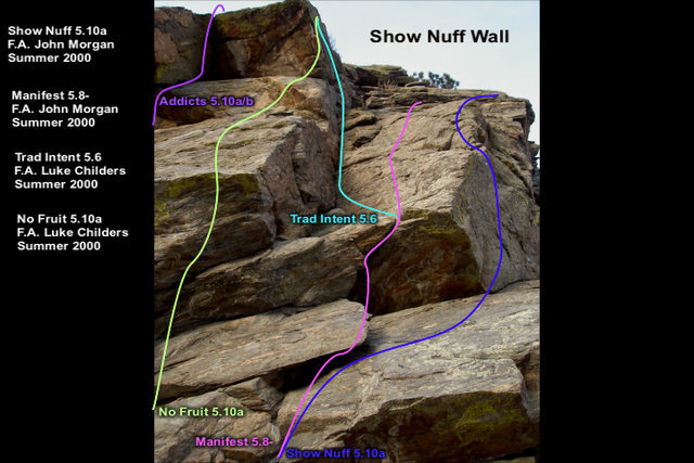 Rock Climbing Photo: Show Nuff Wall.  Moving from right to left along t...
