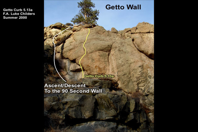 Getto Wall.  The far left end of the crag.