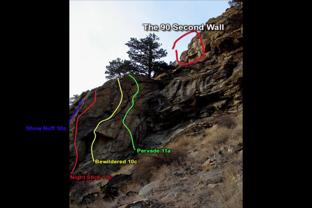The 90 Second wall can be seen while approaching the first routes on the Left Wire.  Look up high to your right just past a big pine.