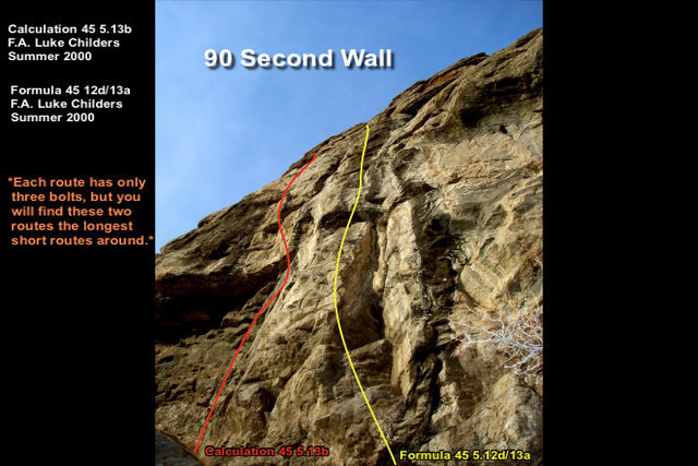 90 Second Wall looking up from the base of the right most route.