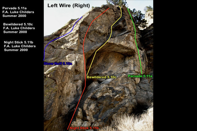 The rightmost route on the east-facing wall of the Left Wire crag.