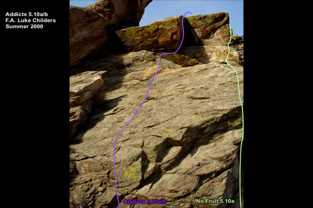 Climb past 4 bolts to the under side of a roof.  Hand jam left to gain a good stance.  Move up the corner the exit left out the roof exit traverse.  Climb slab past one more bolt to the LOs.