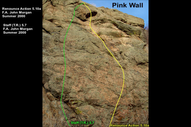 "Step right of a block to gain the pink slab.  Climb your way to the anchors of ""Renounce Action""."