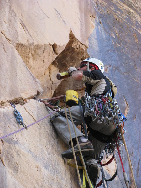 A tag line is used to send critical equipment to the lead climber.