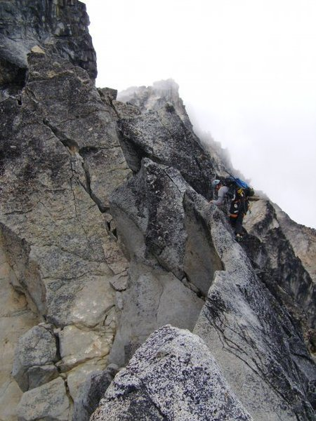 On a delightfully exposed traverse on the North Ridge of Mount Stuart.