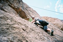 Rock Climbing Photo: Me leading the 6th pitch (11a) of 'Voie Hollandais...