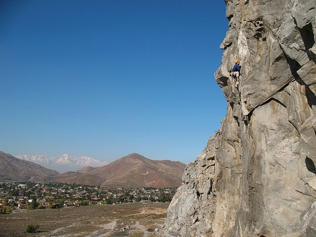 Just past the crux of Fueled by Slander (5.11b), Riverside Quarry