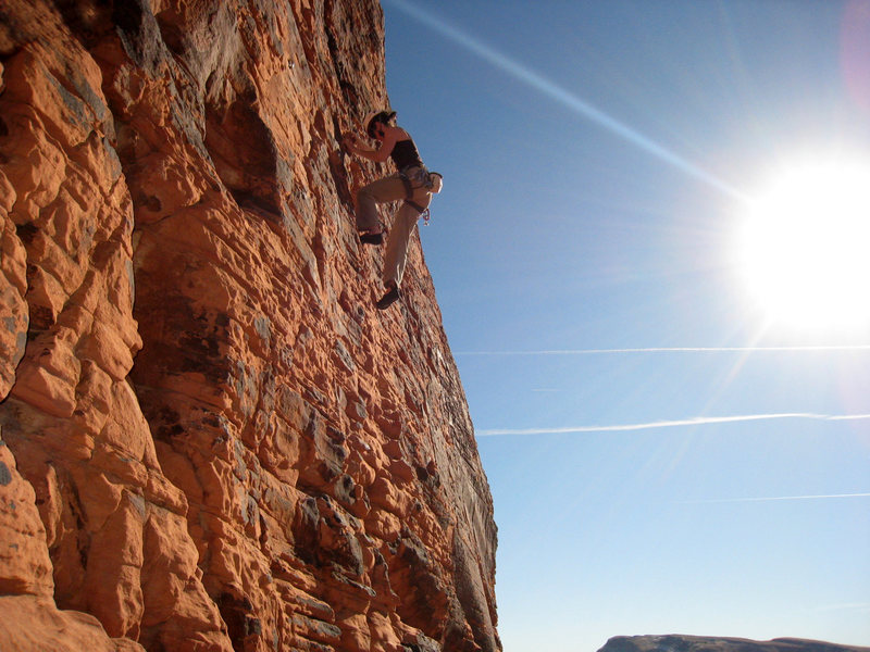 Rock Climbing Photo: Seconding the route on a great late December 2008 ...