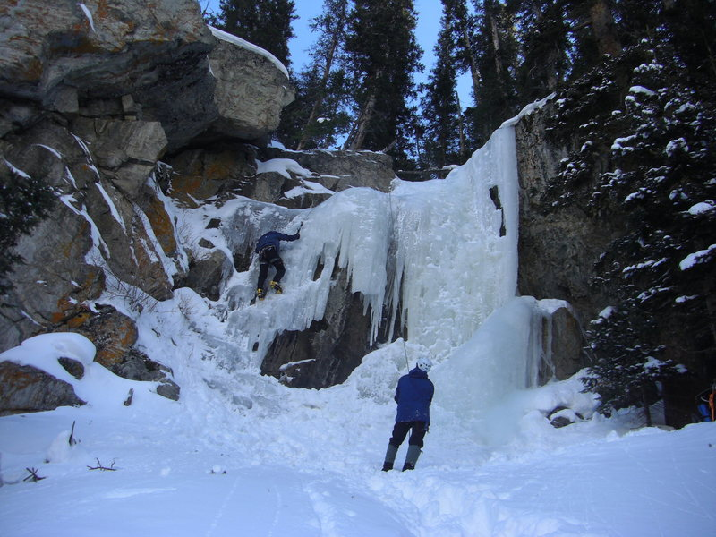 Ice conditions for the North-facing ice near Moffat Tunnel on 12-28-2008. The climbers are Ian and Michael from somewhere in Denver.