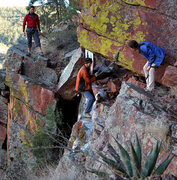 Rock Climbing Photo: A cold icy traverse under the fixed line overhang ...