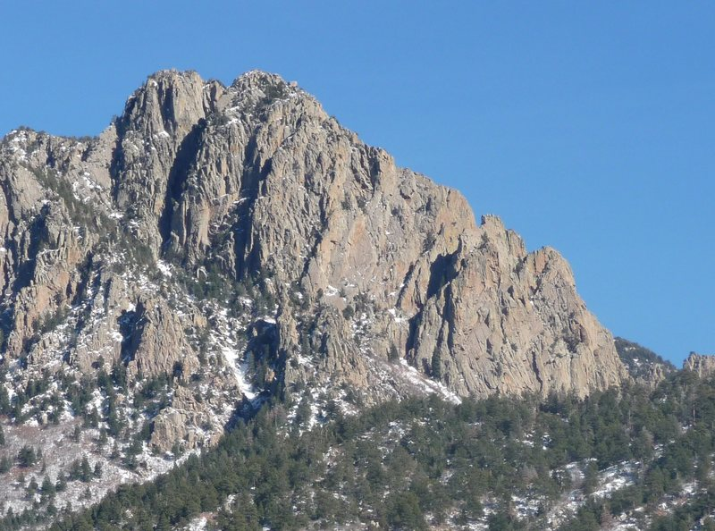 Rock Climbing Photo: The Jawbone from Lower Domingo Baca Canyon.