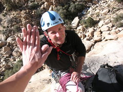 Rock Climbing Photo: High five at the top of pitch one.