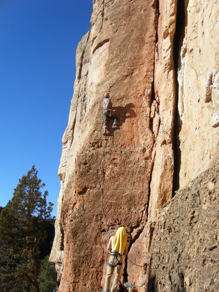 Rock Climbing Photo: Mike B. and shadow eye the crux.