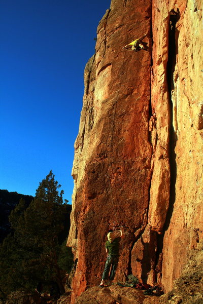 Said at the cruxy clip. The holds tend right to the arete for this one portion. Anyone else use the arete? Photo By Mike B.