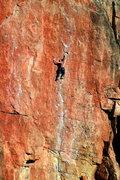 Rock Climbing Photo: Ian Achey leading a proud onsight of Lats Don't Ha...