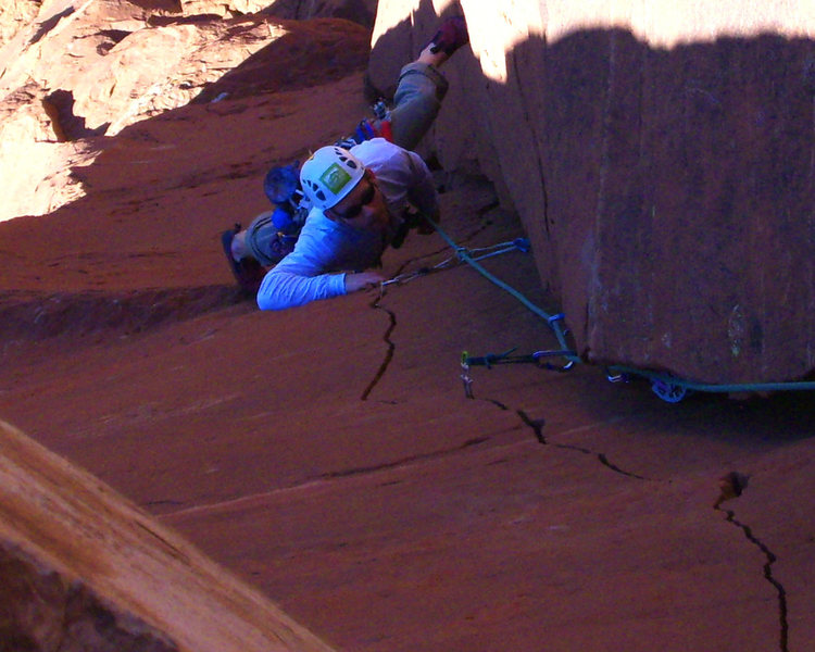 Andrew passing the crux on pitch 1