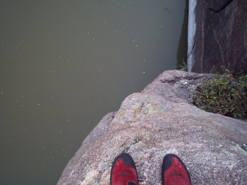 There's the North Platte River, as seen from a belay ledge.
