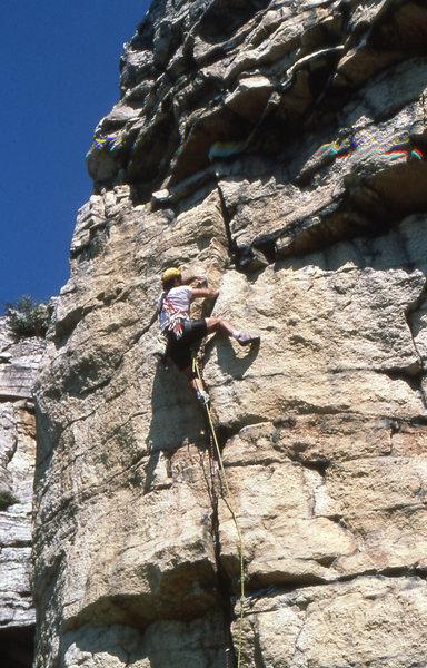 Rock Climbing Photo: On sight flash of No Exit 5.10 Gunks