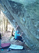 Rock Climbing Photo: Nate setting up for the first big throw on   Goldf...