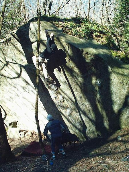 Rock Climbing Photo: Leroy high on Precious Metals V2