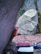 Rock Climbing Photo: Nate on The Iron Cross V8