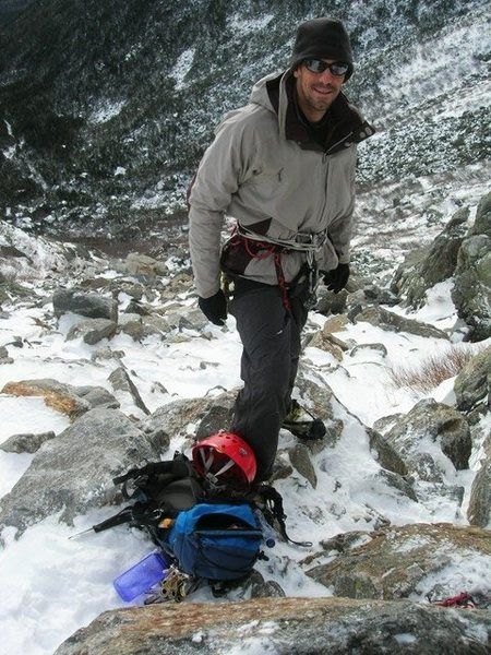 Lukas Filler at the bottom of Damnation Gully on Mt. Washington, Dec 2007