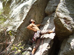 Rock Climbing Photo: Ben Gardner on a short but stout 5.10, Reggae Wall...