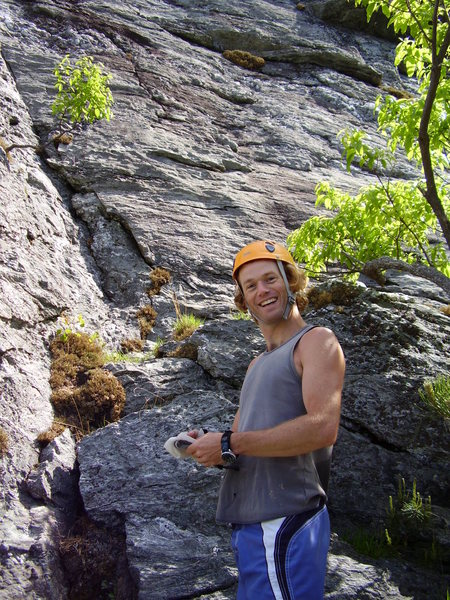 Nathan Hingley managing to look studly and goofy at the same time.  Bottom of NC Wall (?), NC.