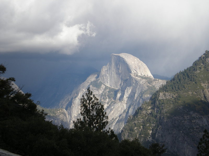 Half Dome amid approaching clouds, from the East Ledges of El Cap