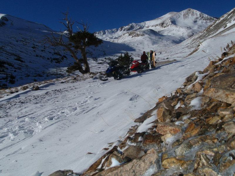 Jeff Barnow and Austin Porzak after a winter ski descent of Mt. Democrat