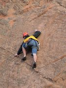 Rock Climbing Photo: Dan edges up the dike at the crux.  It seems to he...