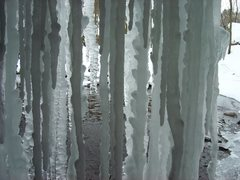 Rock Climbing Photo: Ice curtain behind Stephen's Falls.  Amazing day o...