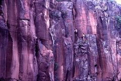 Rock Climbing Photo: Paul Davidson (belayed by Scott Baxter) on the fir...