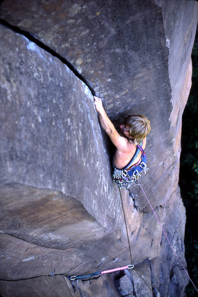 Rock Climbing Photo: Tim Coats powering up the crux on the first ascent...