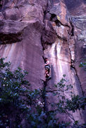 Rock Climbing Photo: Larry Coats on the second ascent of Jolly Roger. J...