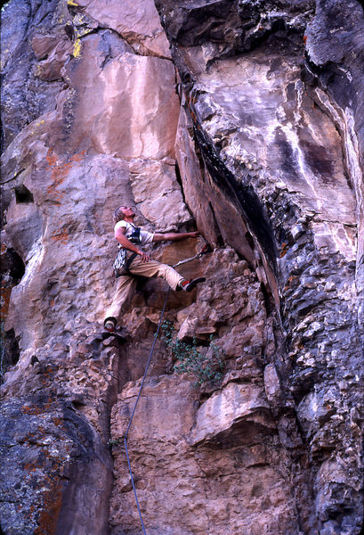 Larry Coats on the first ascent of Rushin' Arete. J. Haisley photo