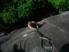 Rock Climbing Photo: starting the 2nd crux on pitch 1