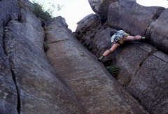 Rock Climbing Photo: Gordon MacNeil leading on the first ascent of Pill...
