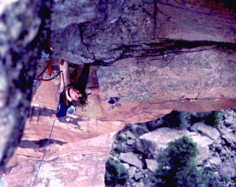 Rock Climbing Photo: Dave Salisbury under the west overhang of the Maid...