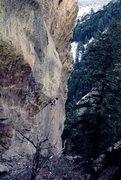 Rock Climbing Photo: Bob Horan on Beware the Future, with jug hold at t...