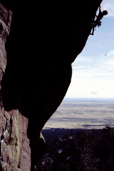 Bob Horan on an early attempt to free climb Space Time Inversion, circa 1980, which was later freed by Dale Goddard in 1985 and renamed The Five Year Plan.
