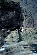 Rock Climbing Photo: Bob Horan on first free solo ascent of NED, 1985. ...
