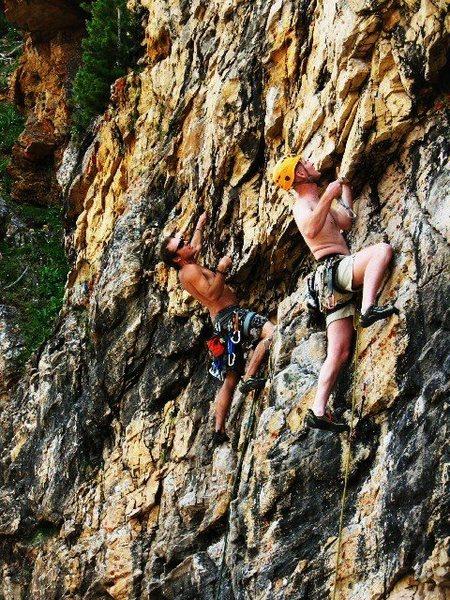 Rock Climbing Photo: Mike Bird & Luke Douglas on The Cannon Ball & Bong...