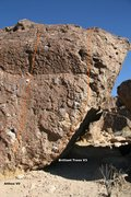 Rock Climbing Photo: Showdow Play Boulder West Arete Topo