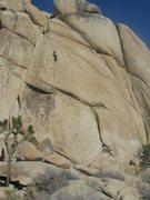 Rock Climbing Photo: Climber seconding the Band Saw (at the third bolt)