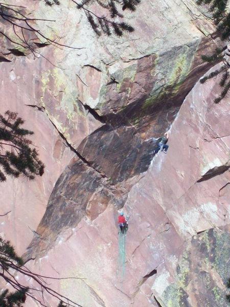 Climbers on C'est la Vie dihedral. Photo: Bob Horan Collection.